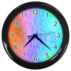 Abstract Color Pattern Textures Colouring Wall Clocks (black)