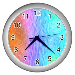 Abstract Color Pattern Textures Colouring Wall Clocks (silver)