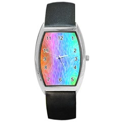 Abstract Color Pattern Textures Colouring Barrel Style Metal Watch