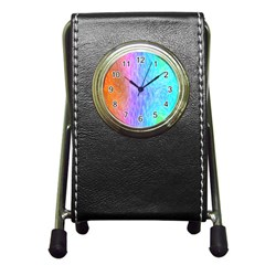 Abstract Color Pattern Textures Colouring Pen Holder Desk Clocks