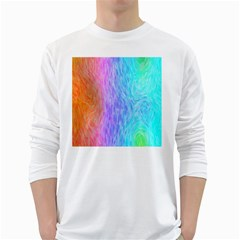 Abstract Color Pattern Textures Colouring White Long Sleeve T-Shirts