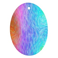 Abstract Color Pattern Textures Colouring Oval Ornament (Two Sides)