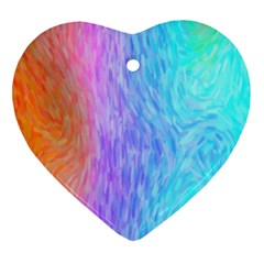 Abstract Color Pattern Textures Colouring Heart Ornament (two Sides)