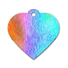 Abstract Color Pattern Textures Colouring Dog Tag Heart (one Side)