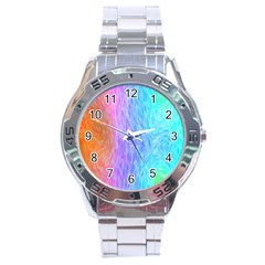 Abstract Color Pattern Textures Colouring Stainless Steel Analogue Watch