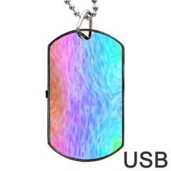 Abstract Color Pattern Textures Colouring Dog Tag USB Flash (One Side)
