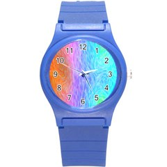 Abstract Color Pattern Textures Colouring Round Plastic Sport Watch (S)