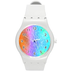 Abstract Color Pattern Textures Colouring Round Plastic Sport Watch (M)
