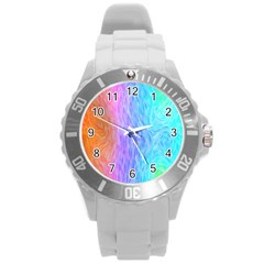 Abstract Color Pattern Textures Colouring Round Plastic Sport Watch (L)