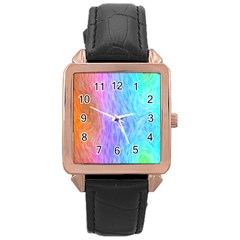 Abstract Color Pattern Textures Colouring Rose Gold Leather Watch
