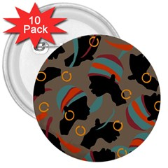 African Women Ethnic Pattern 3  Buttons (10 Pack)