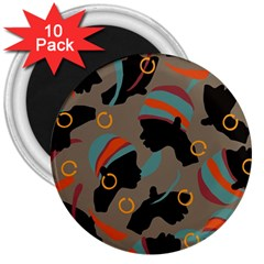 African Women Ethnic Pattern 3  Magnets (10 pack)