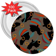 African Women Ethnic Pattern 3  Buttons (100 Pack)