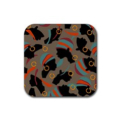 African Women Ethnic Pattern Rubber Square Coaster (4 pack)