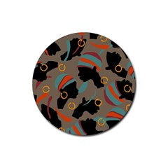 African Women Ethnic Pattern Rubber Round Coaster (4 Pack)