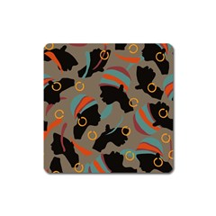 African Women Ethnic Pattern Square Magnet