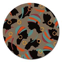 African Women Ethnic Pattern Magnet 5  (Round)
