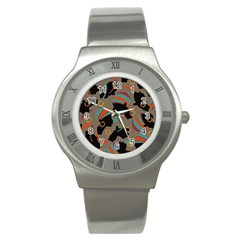 African Women Ethnic Pattern Stainless Steel Watch