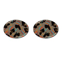 African Women Ethnic Pattern Cufflinks (oval)