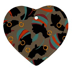 African Women Ethnic Pattern Heart Ornament (two Sides)