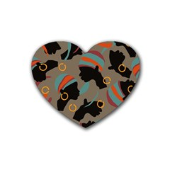 African Women Ethnic Pattern Heart Coaster (4 Pack)
