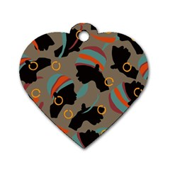 African Women Ethnic Pattern Dog Tag Heart (one Side)
