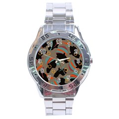 African Women Ethnic Pattern Stainless Steel Analogue Watch