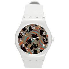African Women Ethnic Pattern Round Plastic Sport Watch (M)