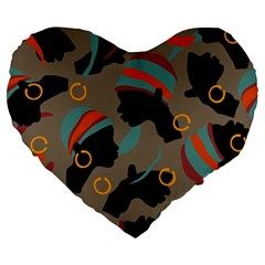 African Women Ethnic Pattern Large 19  Premium Heart Shape Cushions