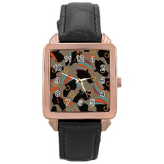 African Women Ethnic Pattern Rose Gold Leather Watch