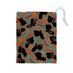 African Women Ethnic Pattern Drawstring Pouches (Large)