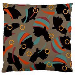 African Women Ethnic Pattern Large Flano Cushion Case (one Side)