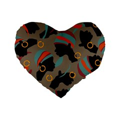 African Women Ethnic Pattern Standard 16  Premium Flano Heart Shape Cushions