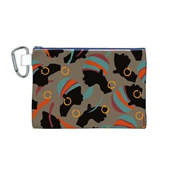 African Women Ethnic Pattern Canvas Cosmetic Bag (M)