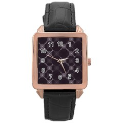 Abstract Seamless Pattern Rose Gold Leather Watch