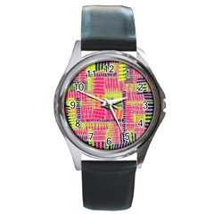 Abstract Pattern Round Metal Watch