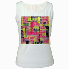 Abstract Pattern Women s White Tank Top