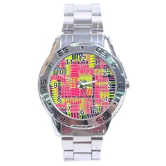 Abstract Pattern Stainless Steel Analogue Watch