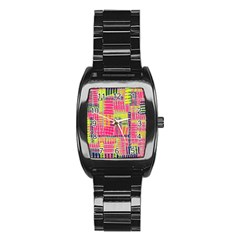 Abstract Pattern Stainless Steel Barrel Watch