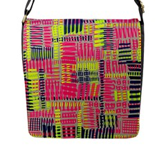 Abstract Pattern Flap Messenger Bag (L)