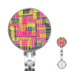 Abstract Pattern Stainless Steel Nurses Watch