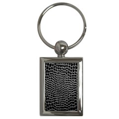 Black White Crocodile Background Key Chains (rectangle)