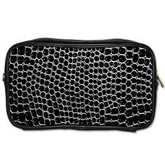 Black White Crocodile Background Toiletries Bags 2 Side