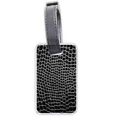 Black White Crocodile Background Luggage Tags (two Sides)