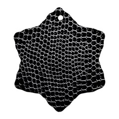 Black White Crocodile Background Snowflake Ornament (two Sides)