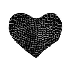 Black White Crocodile Background Standard 16  Premium Heart Shape Cushions