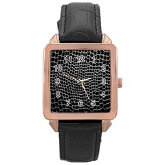 Black White Crocodile Background Rose Gold Leather Watch