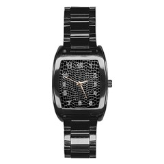 Black White Crocodile Background Stainless Steel Barrel Watch