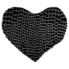 Black White Crocodile Background Large 19  Premium Flano Heart Shape Cushions