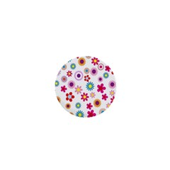 Colorful Floral Flowers Pattern 1  Mini Buttons
